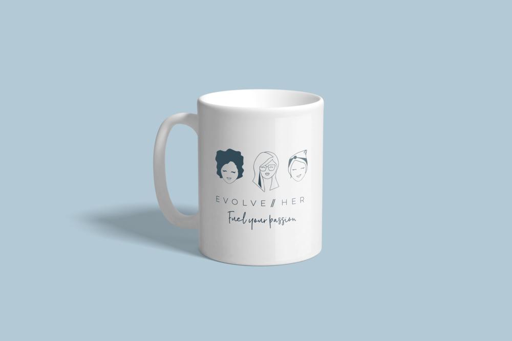 Mug Design with Custom Illustration for evolveHer
