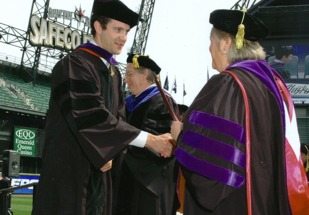 Joe receives his Seattle University Law degree at a ceremony held at Safeco Field.