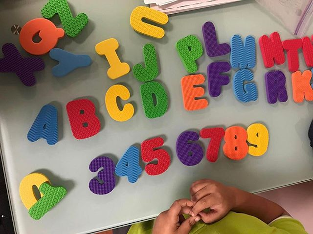 Interacting with the actual shape of letters and numbers allows our children to increase their recognition and ability to write these element down on their own. #MLCMiami #LearningMadeMagical