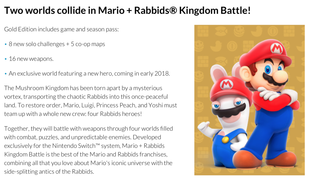 Mario + Rabbids: Kingdom Battle DLC Details Leak - http://www.ign.com/articles/2017/11/20/mario-rabbids-kingdom-battle-dlc-details-leak