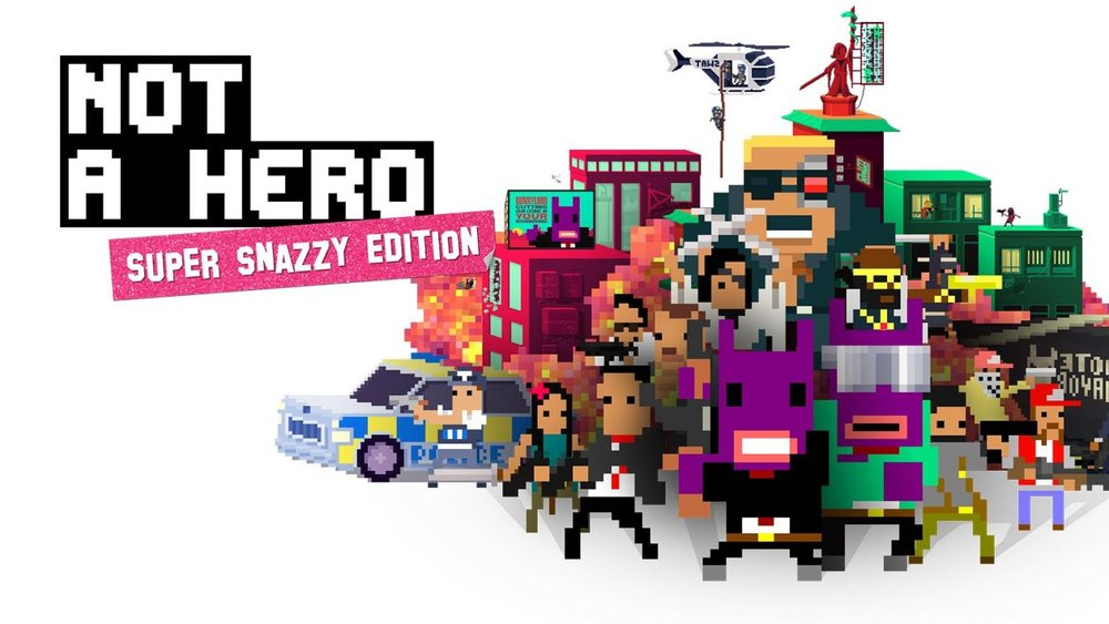 """Not A Hero: Super Snazzy Edition    Releasing on:  Nintendo Switch - 8/2   Also Available on:  PS4, Xbox one, PC  Join the Campaign trail in this funstoppable 2.25D pixelated political opus from Roll7. Shoot, slide and execute your way through 28 levels of incredibly British action and humour as you persuade the world to 'Vote BunnyLord'.  Use reasonable force unreasonably in a dynamic mix of run-and-gun gameplay and cover-based shootouts. The intuitive quick-snap cover system lets you slide, roll, and dive into cover, dodging enemy fire before fighting back with tackles, executions, and hundreds of bullets. Choose between 9 different heroes, each with their own distinct gameplay style and crime-murdering abilities. Blast the city's scum through doors with Cletus' shotgun, slice them in half with Kimmy's katana dash, or simply bash crime in it's terrible face with Ronald's hammer. Go ham on primary objectives and (sometimes random) secondary goals but be prepared for unexpected mid-level events that turn the tables on the anti-heroes in an instant. SWAT teams, gun-toting elderly, helicopter gunships, pandas, pugs and suicidal samurais stand between you and election victory.  NOT A HERO: SUPER SNAZZY EDITION introduces the """"ME, MYSELF & BUNNYLORD"""" Campaign, letting you play as the BunnyLord himself! Use unreasonable force reasonably to fix his space-time-continuum mishaps and restore balance to the universe in this new adventure featuring 3 all new missions, with new baddies, settings and challenges.   Grimlock's Must or Bust:    Must- This week I clearly focused on ridiculous, over the top, and sometimes downright stupid, games. So why stop now? Not A Hero Super Snazzy Edition is a truly unique experience that you should not miss. Who wouldn't want to be a professional assassin turned amateur campaign manager named Steve, charged with the duty of cleaning up the city by an anthropomorphic rabbit (and mayoral candidate) from the future named BunnyLord?"""