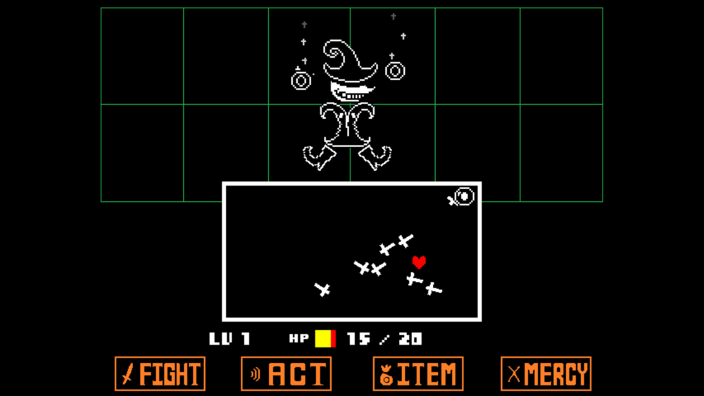 An example of the battle screen. The red heart represents the player. You have to dodge the enemy attacks to avoid taking damage.