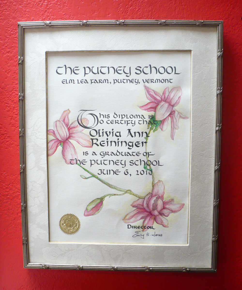 A young woman's hand painted and calligraphed graduation document, framed in a silver frame and damask mat...