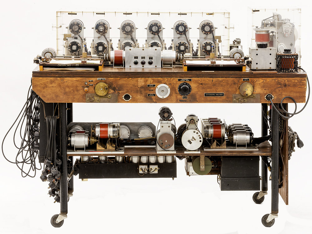 Photograph by   Mark Richards, the   Synchro Operated Differential Analyzer - ensconced at   the Computer History Museum
