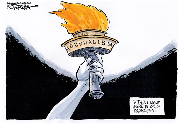 Via   Cagle   Comes This Superb  Jeff Koterba  Penned Editorial Cartoon Entitled ' The Torch of Truth '
