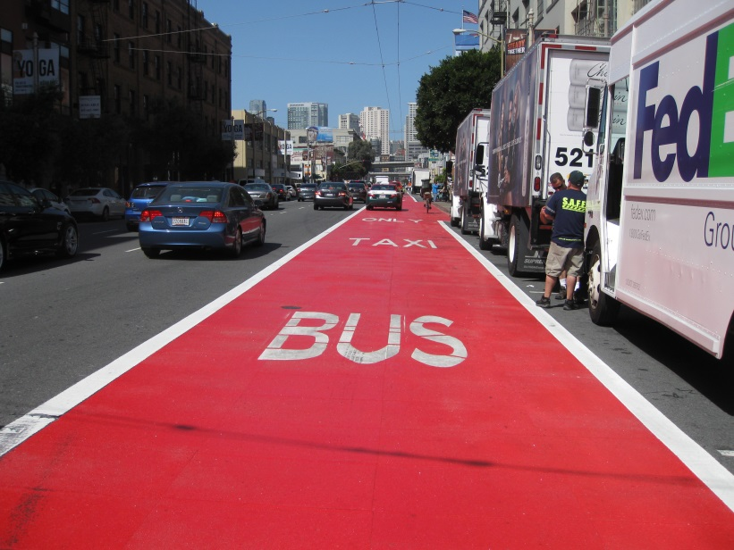 If you're visiting San Francisco and actually drive around downtown, here's the red lane to avoid. red. Cherry Red. Photo: SFMTA