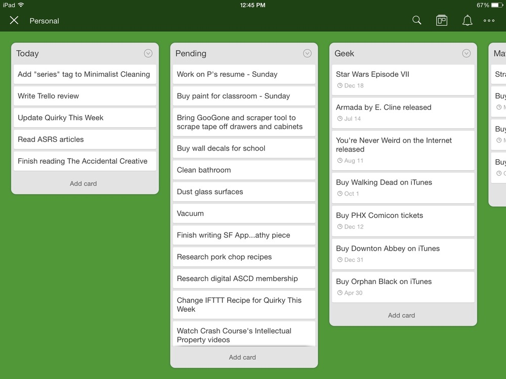 Trello ~ a review of this productivity app at Compulsively Quirky