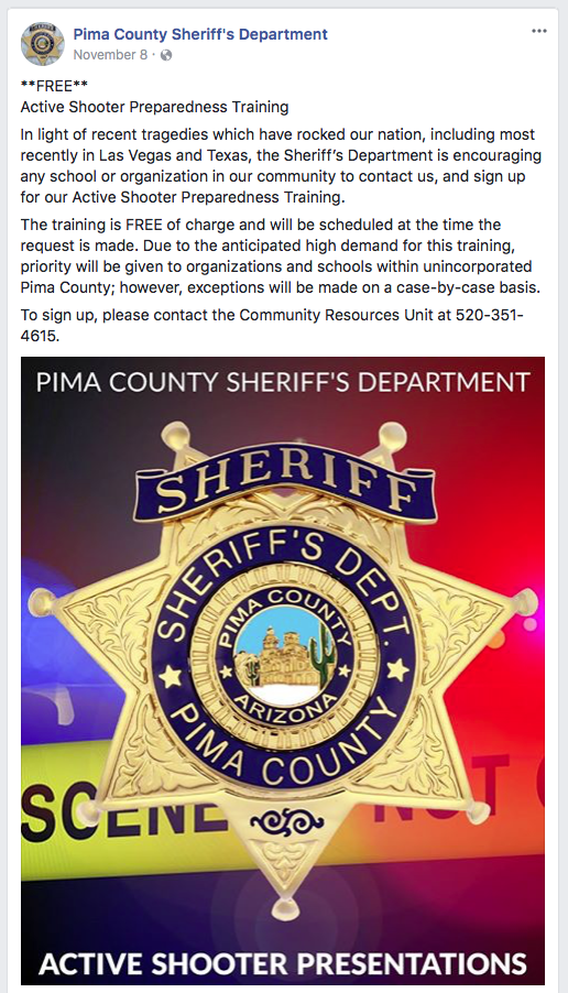 PCSD Active Shooter Training Facebook Post