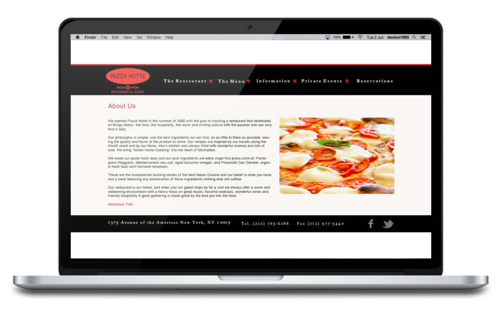 Pazza Notte Restaurant & Lounge old Website