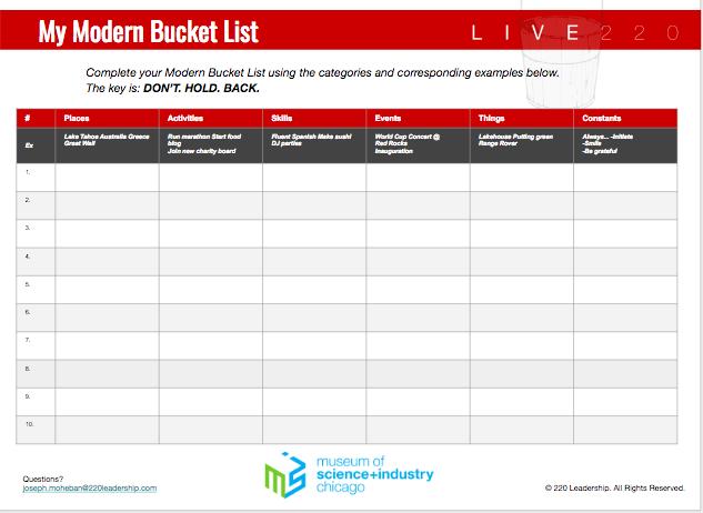 Modern Bucket List