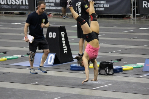 Emily Bridgers during the handstand walk and winning the event at South East Regionals