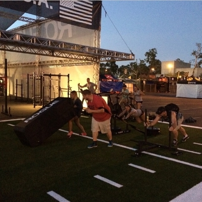 #CFGTennisCrew getting in a night WOD at the Rogue tent.