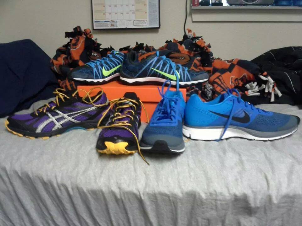 """My preciouses.  Got my purple Nike Trail Runners, blue Nike Pegasus 30 and, not sure of the type, my Nike long distance spikes"""