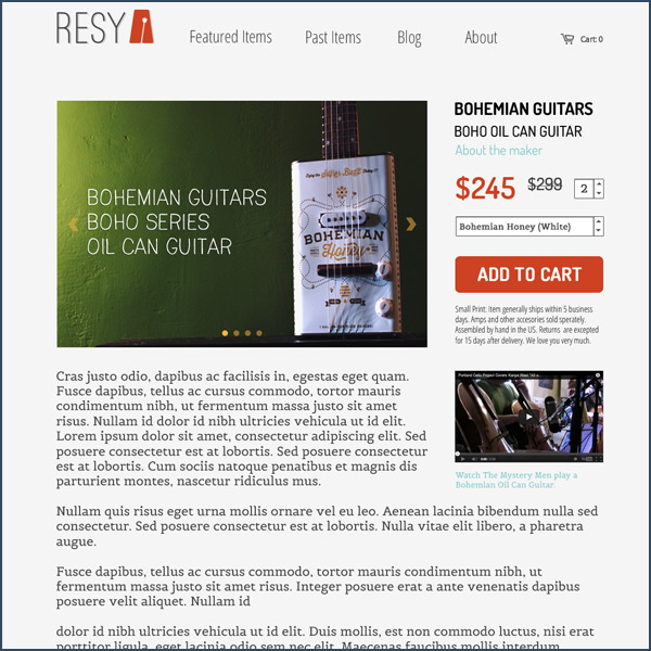 Resy Product Page