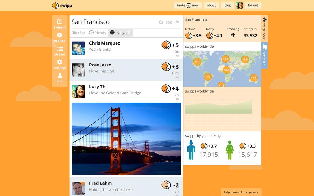 Swipp displays customer input visually, displaying sentiment, time and origin.