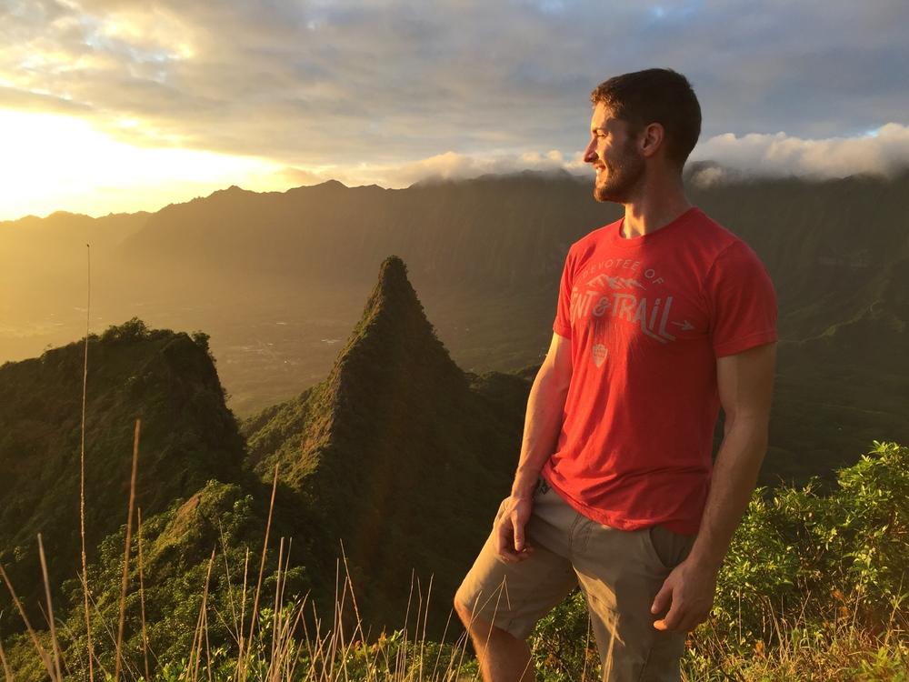 Sunrise on top of Olamana Mountain.