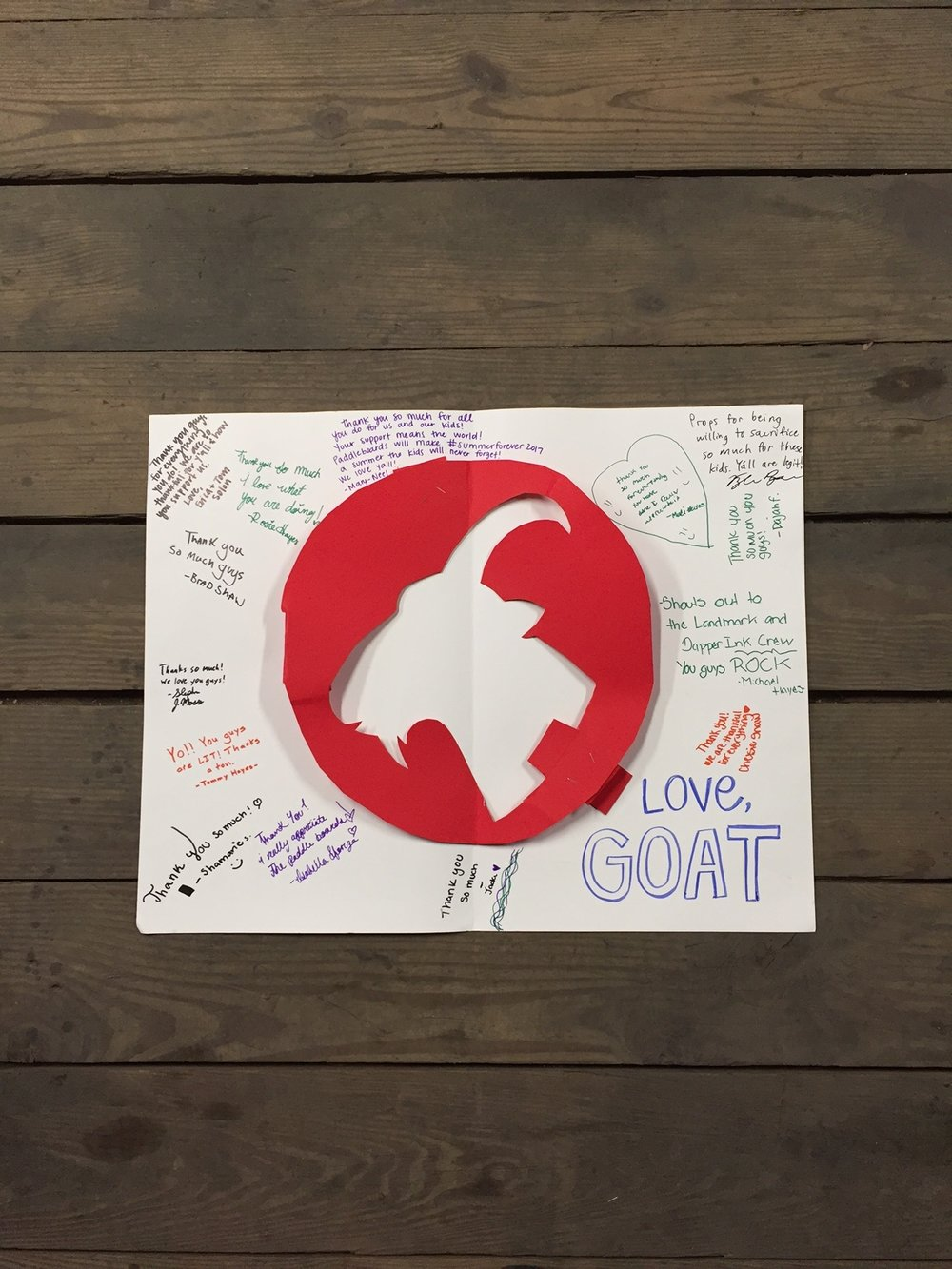 We absolutely loved receiving this super creative thank you note from our buddies at G.O.A.T.!