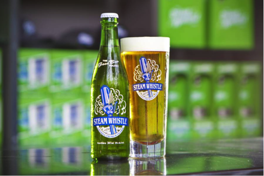 Steam Whistle Pilsner is made with 4 all-natural GMO-free ingredients. Photo Credit Steam Whistle Brewing