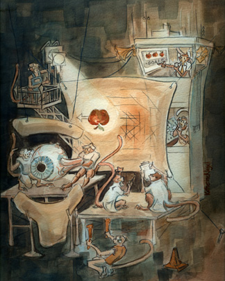 The illustration above schematizes what goes on in a monkey's brain as it tracks a moving object.  It is an original watercolor done by Katherine Nagel, and was chosen as the cover of the journal when the paper was published.