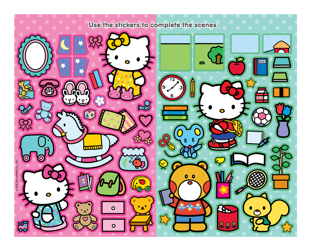 Interior sticker page for Hello Kitty 'Create a Scene' book. Stickers are designed to correspond with two separate scene pages which children complete. Designed & produced for Bendon, Inc. Licensed by Sanrio. 2014