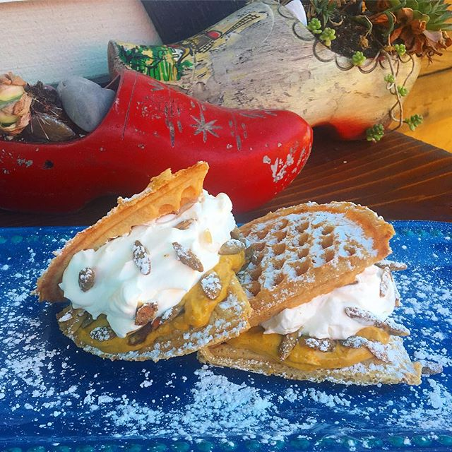 It's back! Come try our Fall seasonal waffle while supplies last 🍂🍁🌰 House made pumpkin cream & candied ginger spread, topped with fresh whipped cream and candied pepitas! . . . . . . #waffle #smaaken #wafflesandwich #dutch #dutchwaffle #foodporn #eaterportland #seportland #pdx #eeeeeats #instagram #pdxfoodcarts #foodcarts #pdxfood #bareaders #sweet #savory #localingredients #locallyowned #eatlocal #ww #willametteweek #tasty #glutenfree