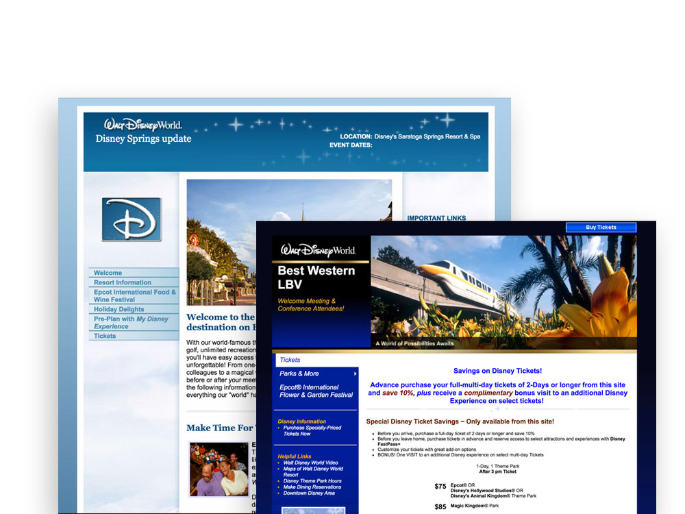 Previous websites used for Disney Meetings & Events