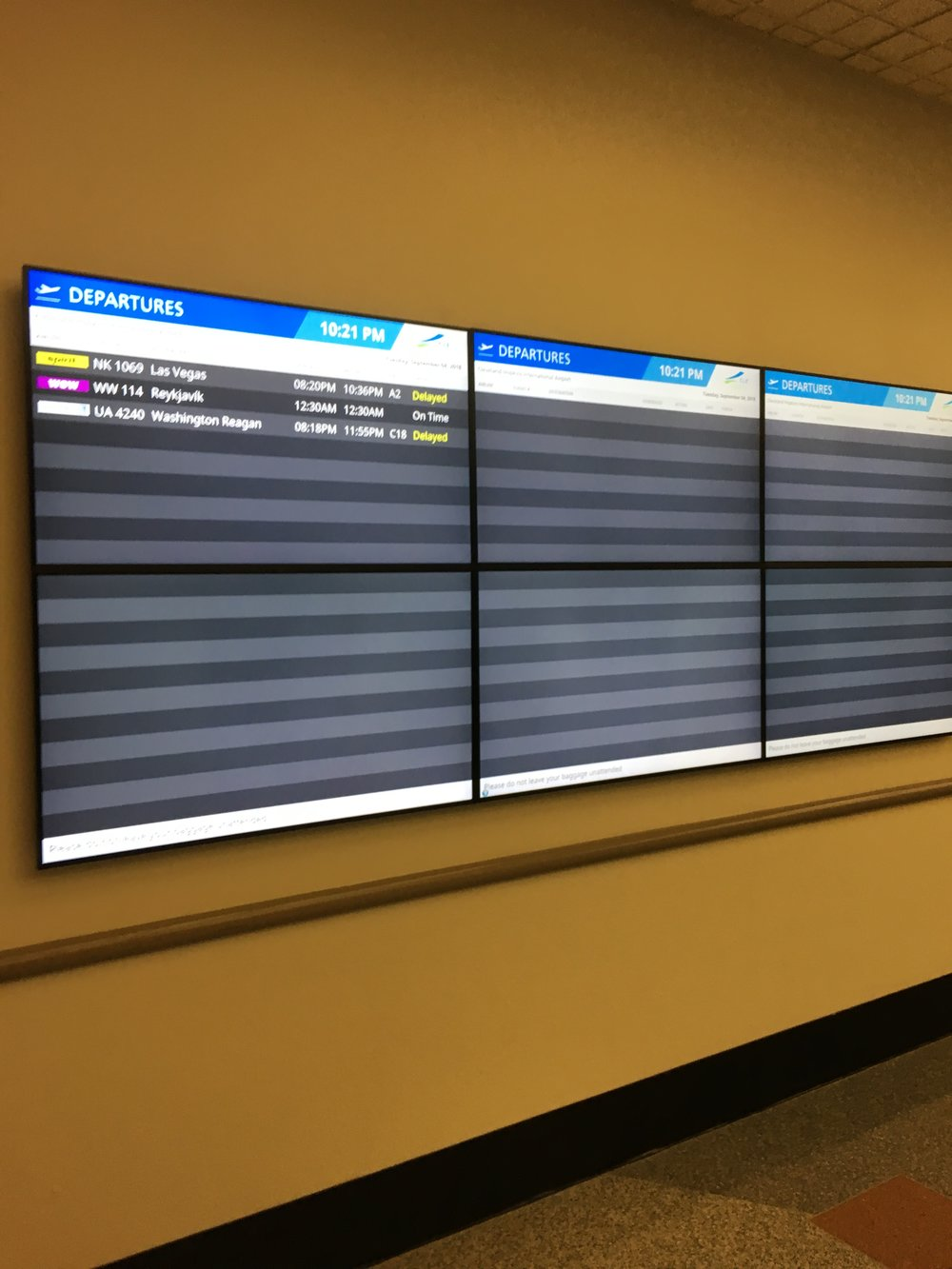 The Cleveland departure board when I arrived! Eliminates delays on the airport's end!