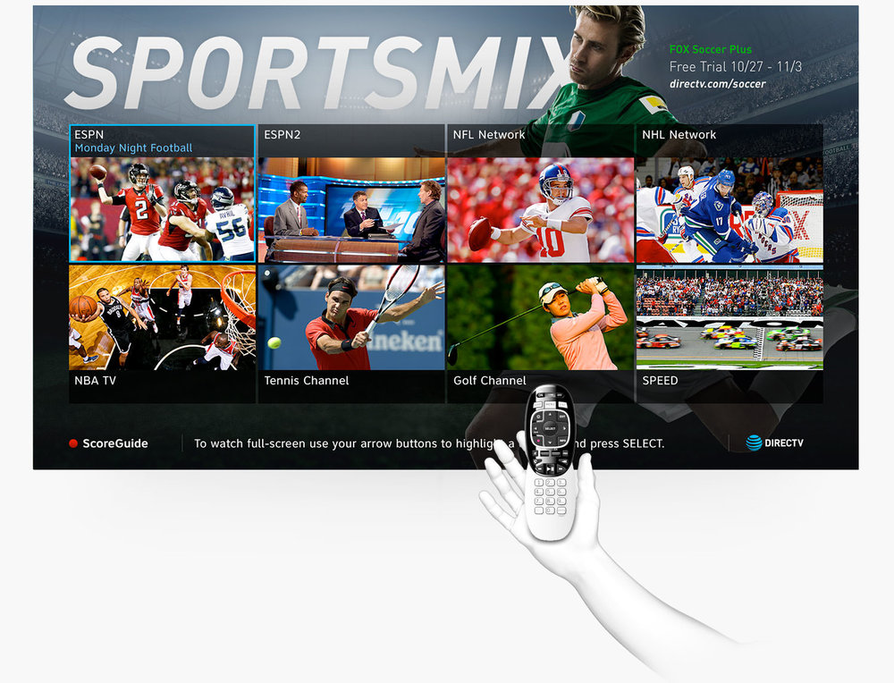 SPORTSMIX® is an exclusive on-air DIRECTV channel that broadcasts live enhanced coverage of curated content. Viewers can watch up to 8 live games at once and access sports scores, rankings, and more. Throughout the year, 25-30 additional sports, events, and specialty mix channel packages were produced with this campaign.  Jen led creative concepts and oversaw team's executions in design, animation, VIZrt, and production. She and her team partnered with x-functional teams - content strategy, sports marketing, engineering, production ops, broadcast center, traffic ops, interactive advertising, etc to deliver all assets.  Team credit: Jessica Cigno - Art Director; Nigel Teixeira - Broadcast Graphics / VIZ Manager; Corinna Lietz, Greden Opio - Designers; Abby Lane, Ken Bae - Production Designers.