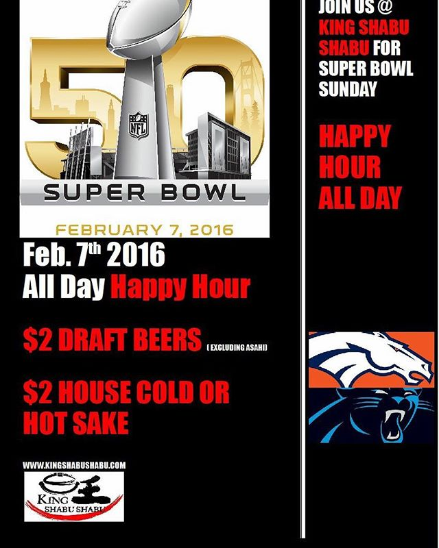 Join us today for all-day happy hour! #itsfiveoclocksomewhere #kingshabushabu  #cerritos #torrance #redondobeach #southbay #supperbowl #superbowl50 #sake #beer