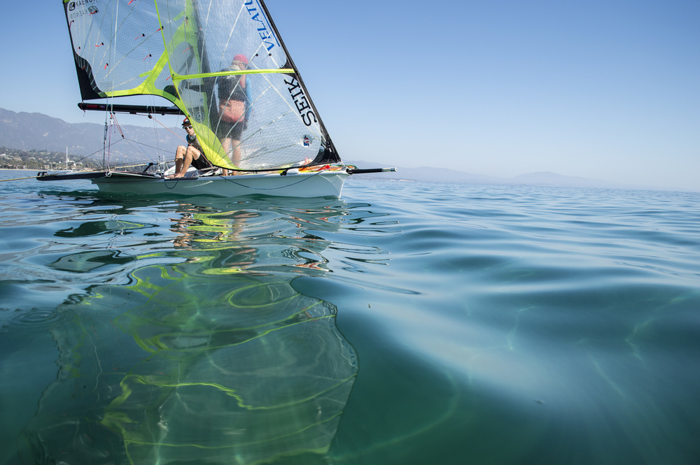 Working on maintaining flow on a light air day in Santa Barbara.