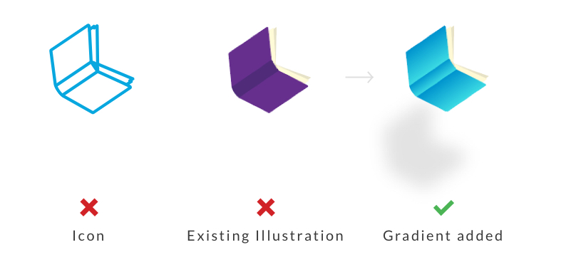 Prime uses specific set of illustrations. However, Flat Illustrations  that look similar to clickable icons were known to confuse customers. I've tried adding gradient as a solution to differentiate the look of existing illustration.