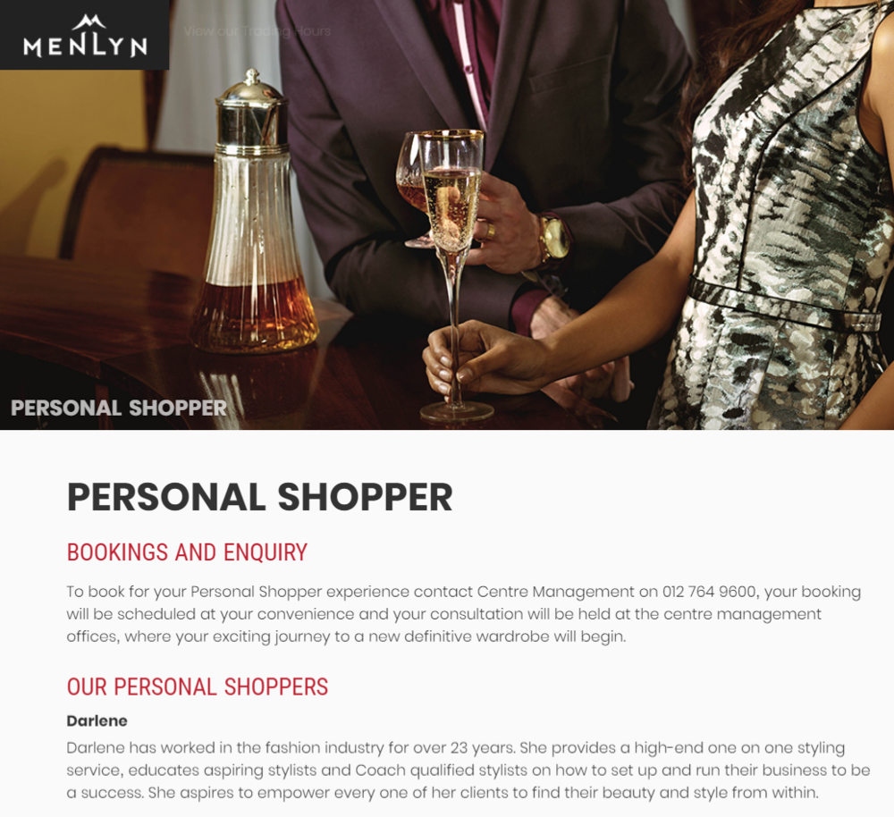 Menlyn shopping mall personal shopper
