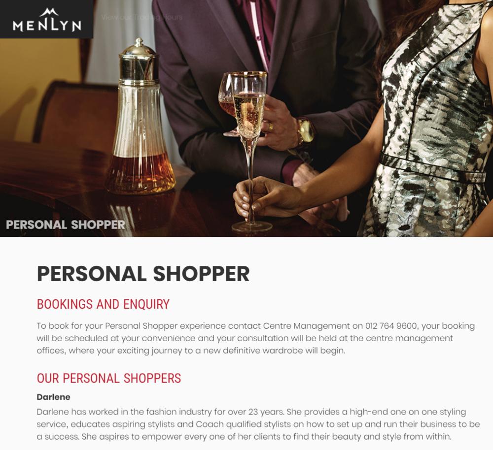 Menlyn shopping mall personal shopper
