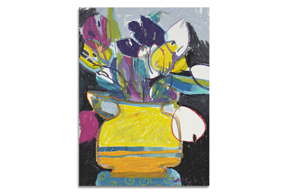 Tulips in Yellow Vase