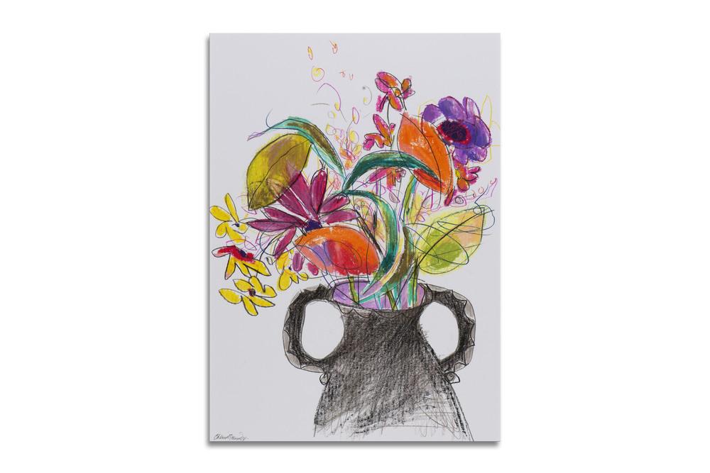 Black Vase: Dahlia & Daisies