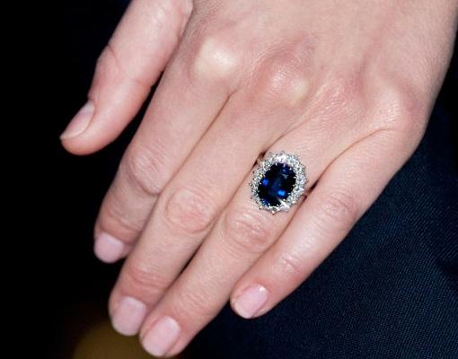 Kate Middleton's Ceylon sapphire engagement ring made by royal jeweler Garrard.