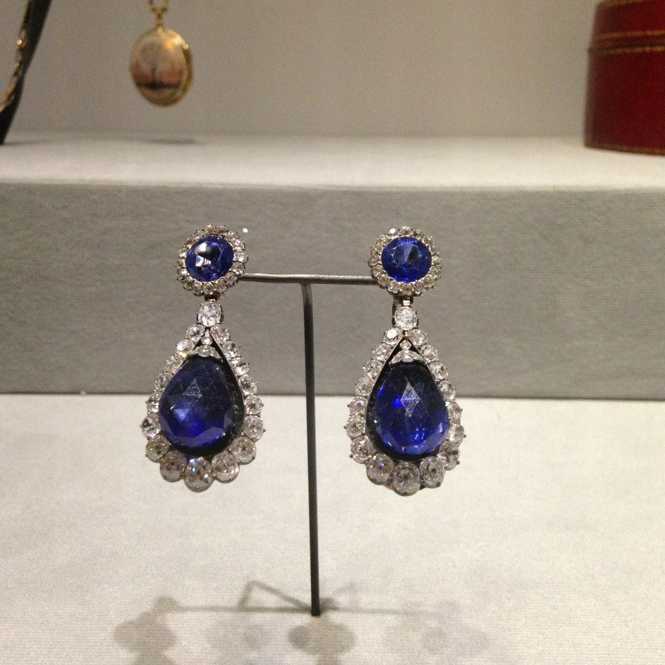 Ceylon sapphire and diamond earrings once belonging to Empress Josephine and now on display at the Louvre.