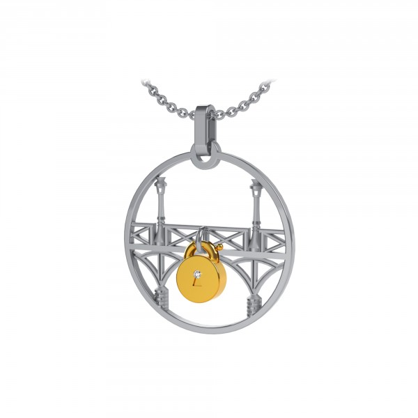 Sterling Silver Lock & Love Pendant by Tournaire