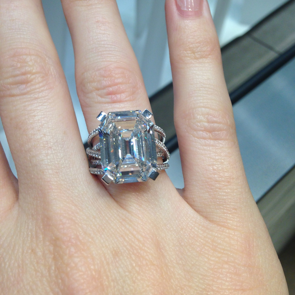 10.18ct G IF Emerald Cut Diamond Ring