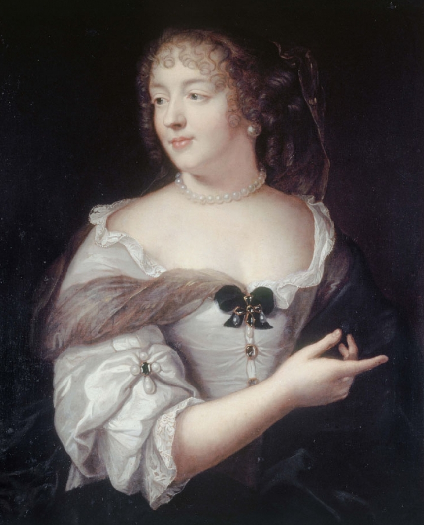 The Marquise de Sevigné wearing a devant de corsage of ribbon, pearls, and gold in the style of the famous jewelry design that carries her name. (Photo courtesy of the Musée Carnavalet)