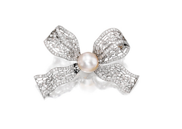 Platinum, natural pearl and diamond Sevigné brooch circa 1910. Available for sale on April 14th in the Magnificent Jewels sale at Christie's New York. (photo courtesy of Christie's).