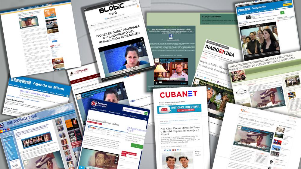 """Cobertura de algunos de los programas de """"VOCES DE CUBA"""" en blogs, paginas web y portales de diarios en internet."""