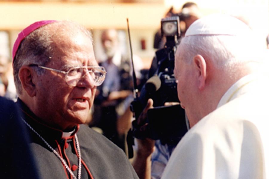 Monseñor Pedro Meurice junto a SS. Juan Pablo II.