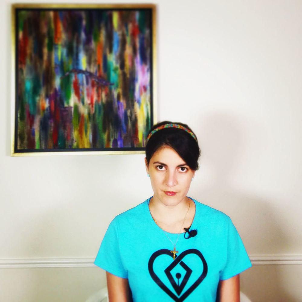 """Rosa María Payá durante el rodaje de la entrevista con """"Voces de Cuba""""."""