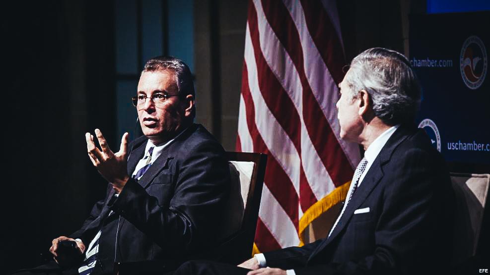 El ministro de Agricultura de Cuba, Gustavo Rodríguez Rollero durante la conferencia en la Cámara de Comercio de EEUU.