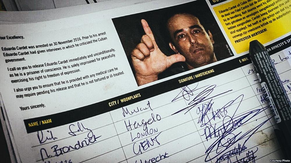 AI colecta firma a favor de la libertad de Eduardo Cardet