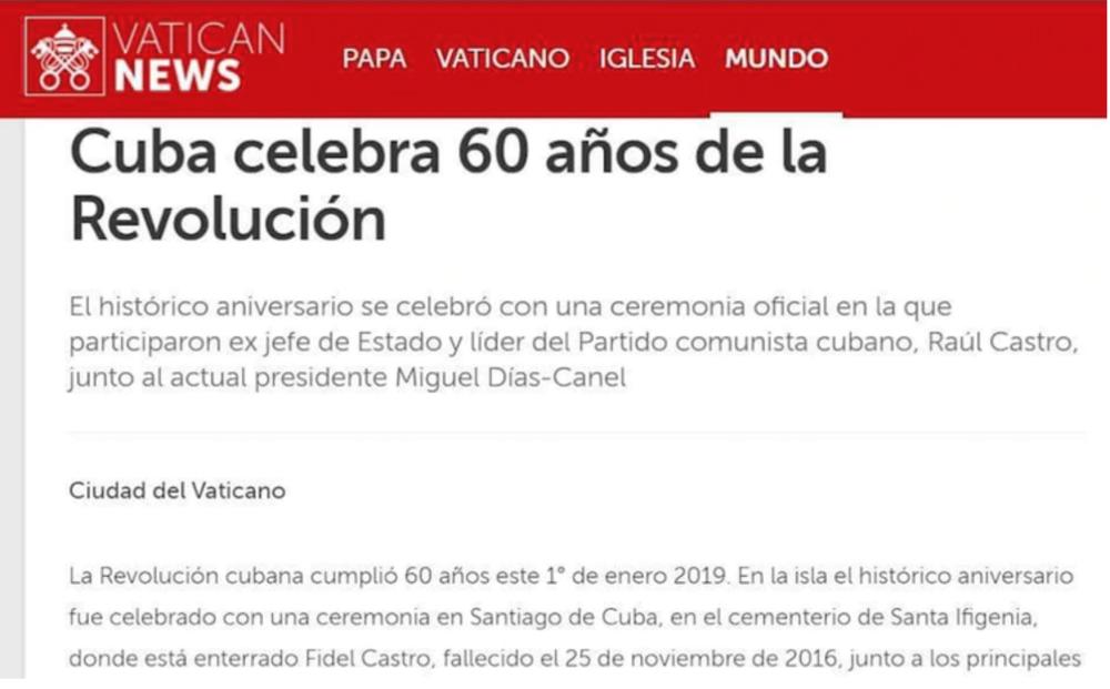 Captura de pantalla del artículo publicado en Vatican News, que se eliminó en menos de 24 horas.