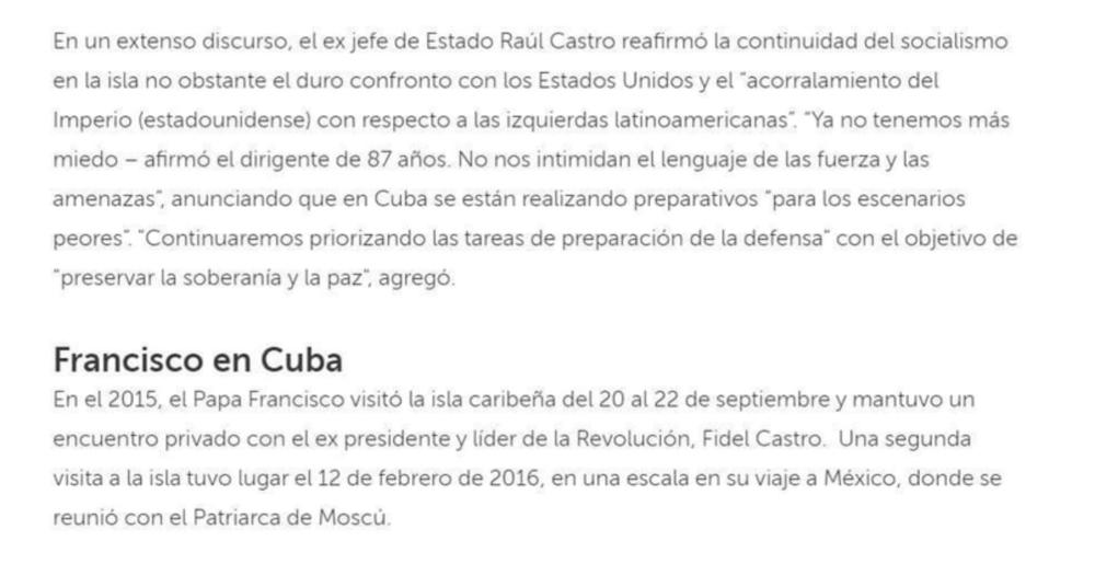 Continuación del texto eliminado de la web de noticias del Vaticano sobre Cuba.