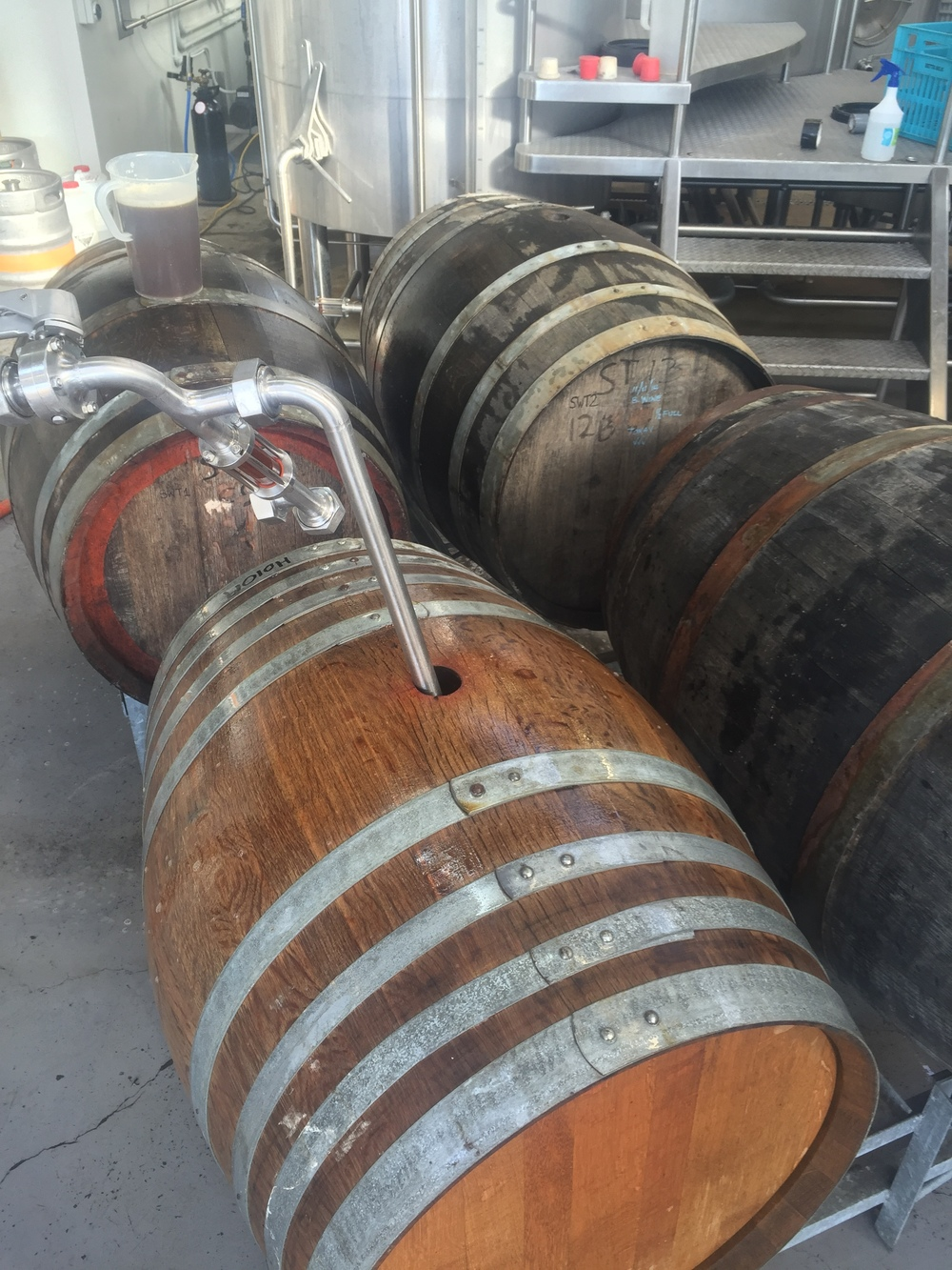 Into barrels for secondary ferment & aging