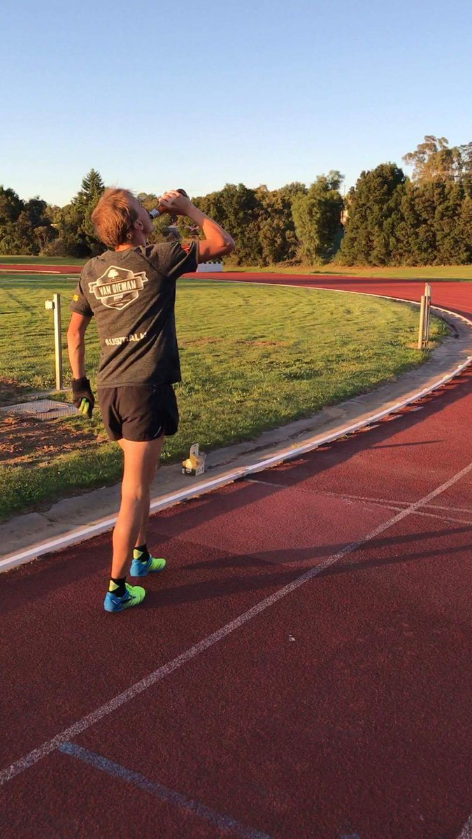 Josh Harris training for the World Beer Mile Championships
